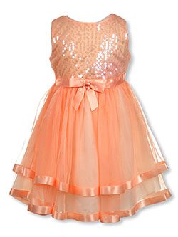 Girls' Sequins & Satin Dress by Bonnie Jean in Blush