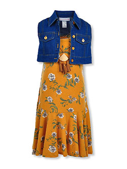 Girls' Boho Floral 3-Piece Dress Set by Bonnie Jean in Mustard