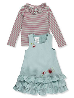 Rosette Stripe 2-Piece Dress Set Outfit by Bonnie Jean in Blue