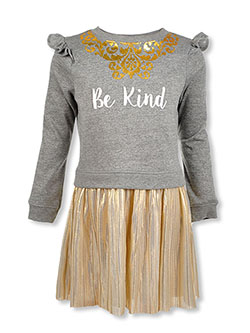 Girls' Be Kind Dress by Bonnie Jean in Gold