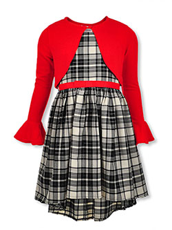 Girls' Plaid Dress with Shrug Cardigan by Bonnie Jean in Red