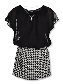 Layer Houndstooth Dress with Necklace by Bonnie Jean in Black