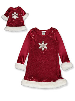 Girls' Snowflake Dress with Doll Dress by Bonnie Jean in Red, Girls Fashion