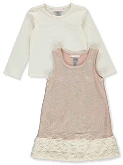 Glitter Rosette 2-Piece Dress Set by Bonnie Jean in Blush - Overalls & Jumpers