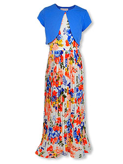 Plus Size Accordion Special Occasion Dress with Shrug by Bonnie Jean in Blue