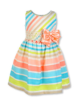 Girls' Spring Bow Linen Dress by Bonnie Jean in Multi