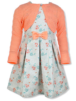 Girls' Floral Dress with Shrug by Bonnie Jean in Coral