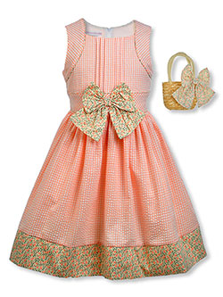 Girls' Floral Dress With Handbag by Bonnie Jean in Coral