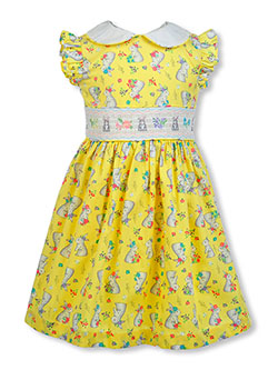 Easter Bunny Fit-And-Flare Dress by Bonnie Jean in Yellow, Girls Fashion