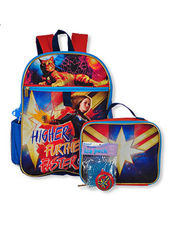 Marvel Captain Marvel 5-Piece Backpack Set by Captain Marvel in Red/navy, School Uniforms