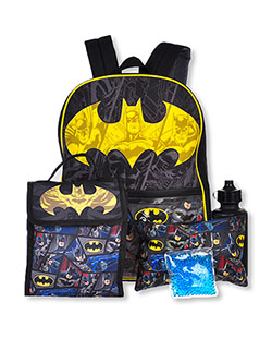 Panel 5-Piece Backpack & Accessories Set by Batman in Multi