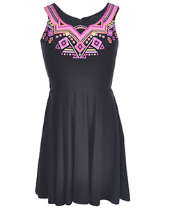 "Derek Heart Big Girls' ""Glitter Tribal"" Skater Dress (Sizes 7 – 16) - CookiesKids.com"