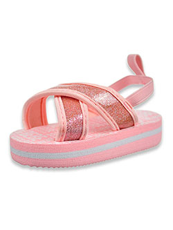 Baby Girls' Glitter Flip Flop Sandals by Bebe in blush, fuchsia and white - $28.00