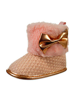 Baby Girls' Plush Bow Booties by Bebe in pink and white