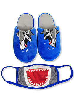 Boys' Shark Slippers & Mask Set by Zac & Evan in Blue
