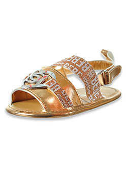 Baby Girls' Metallic Glitter Sandals by Bebe in gold and silver, Infants