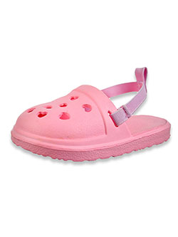 Baby Girls' Summer Heart Clogs by Bebe in fuchsia, pink and white, Infants