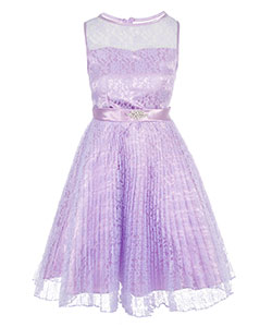 "Good Girl Big Girls' Plus Size ""Pleated Lace"" Dress (Sizes 14.5 – 20.5) - CookiesKids.com"