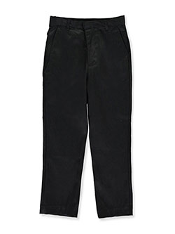 Big Boys' Flat Front Pants by Galaxy School Uniforms in black and gray, Sizes 8-20
