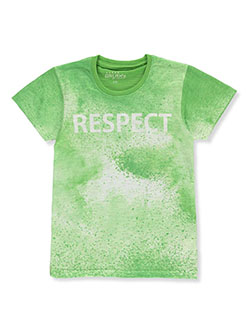 Galaxy by Harvic Boys' Spray Paint Print T-Shirt by Galaxy School Uniforms in green and orange - T-Shirts