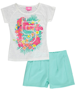 "Girls Pink Little Girls' ""Tropical 5"" 2-Piece Outfit (Sizes 4 – 6X) - CookiesKids.com"