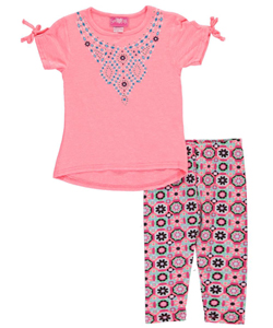 "Girls Luv Pink Little Girls' Toddler ""Parquet Patterns"" 2-Piece Outfit (Sizes 2T – 4T) - CookiesKids.com"