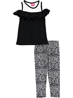 "Girls Luv Pink Big Girls' ""Geometry of Glass"" 2-Piece Outfit (Sizes 7 – 16) - CookiesKids.com"