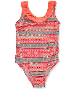 "Surf Zone Big Girls' ""Diamond Flutter"" 1-Piece Swimsuit (Sizes 7 – 16) - CookiesKids.com"