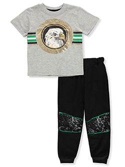 Boys' Eagle 2-Piece Joggers Set Outfit by S1ope in gray multi and red/multi