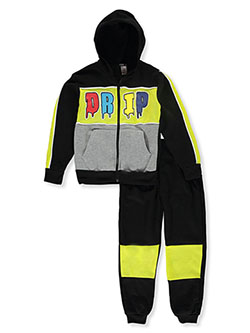 Boys' Drip 2-Piece Sweatsuit Outfit by S1ope in black multi and charcoal