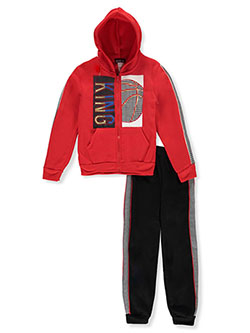 Boys' King 2-Piece Sweatsuit Outfit by S1ope in Red/multi, Boys Fashion