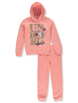 Unicorn Squad 2-Piece Sweatsuit Outfit by Girls Luv Pink in coral/multi and pink/multi