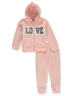 Love Sequin 2-Piece Sweatsuit Outfit by Girls Luv Pink in blush/multi and gray multi
