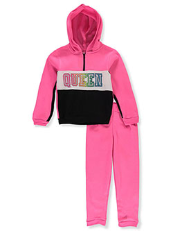 Queen 2-Piece Sweatsuit Outfit by Girls Luv Pink in black multi and gray multi