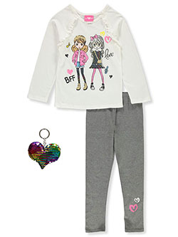 BFF 3-Piece Leggings Set Outfit by Girls Luv Pink in Ivory/multi, Girls Fashion