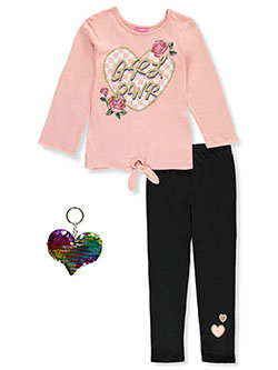 GRL PWR 3-Piece Leggings Set Outfit by Girls Luv Pink in coral/multi and pink/multi