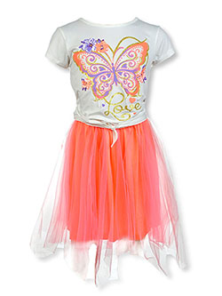 Butterfly 2-Piece Skirt Set Outfit by Girls Pink in coral/multi and pink/multi, Girls Fashion