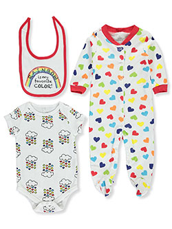 Rainbow is my Favorite Color! 3-Piece Layette Set by Mini B. in White/multi