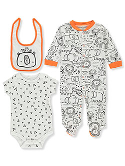 Mini B. Baby Boys' Man Cub 3-Piece Layette Set by Bon Bebe in White