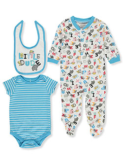 Mini B. Baby Boys' Little Dude 3-Piece Layette Set by Bon Bebe in Aqua