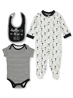 Mini B. Baby Boys' New Here 3-Piece Layette Set by Bon Bebe in Black
