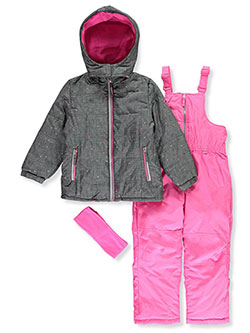 Girls' Dotted Foil 2-Piece Snowsuit by Pink Platinum in Gray, Girls Fashion