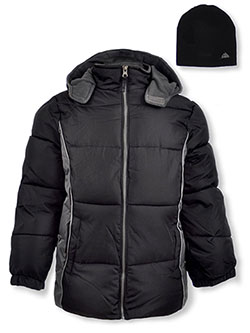 Side Panel Insulated Jacket with Beanie by Ixtreme in black and red