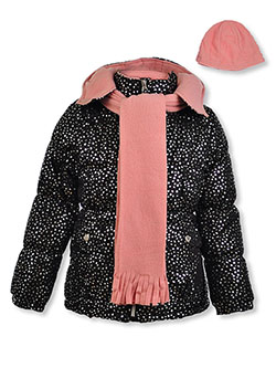 Insulated Hooded Jacket & Scarf Set by Pink Platinum in black, charcoal gray and sugar plum