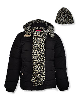 Insulated Leopard Hooded Jacket & Accessories Set by Pink Platinum in black, blush and cheetah