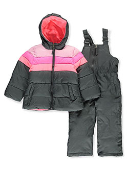 Girls' Pastel Panel 2-Piece Snowsuit by Pink Platinum in charcoal heather, knockout pink and navy