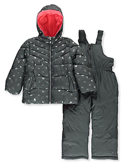 Girls' Angle Baffle 2-Piece Snowsuit by Pink Platinum in Charcoal heather
