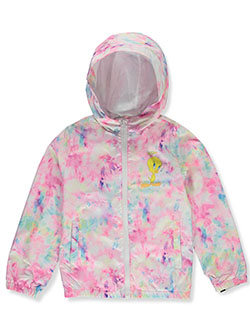 Members' Only Tie-Dye Tweety Hooded Windbreaker Jacket by Looney Tunes in Pink