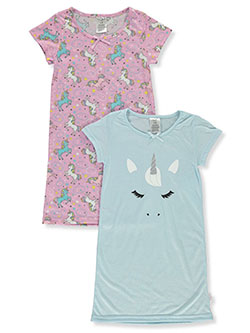 Girls' 2-Pack Unicorn Nightgowns by Tahari in Olive