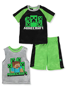 Boys' 3-Piece Creeper Shorts Set Outfit by Minecraft in Black multi, Boys Fashion